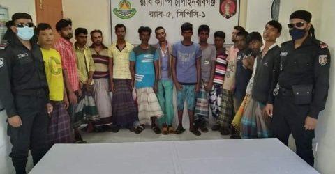 চাঁপাইনবাবগঞ্জে র্যাবের অভিযানে ১৪ মাদক সেবী আটক